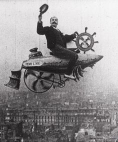 Conquering the Skies (1906, dir. Ferdinand Zecca), in which the image of Zecca astride a vehicle he invented was superimposed on a view of Paris. :-O