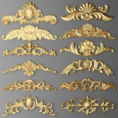 rendering of gilded stucco, collection cartouche Home Confort, Painted Furniture, Furniture Design, Motif Arabesque, Molduras Vintage, Decorative Plaster, Decorative Boxes, 3d Modelle, Wall Molding