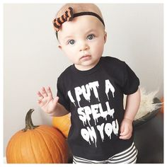 I Put A Spell On You Halloween Hocus Pocus Tee Shirt For Babie, Toddlers, Children and Adults. By The Magpie Company Halloween 2015, Halloween Shirt, Holidays Halloween, Halloween Crafts, Happy Halloween, Halloween Party, Halloween Costumes, Favorite Holiday, Little Babies