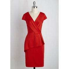 Pinup Short Sleeves Sheath Exalted Executive Dress (165 CAD) ❤ liked on Polyvore featuring dresses, surplice dress, cap sleeve sheath dress, short-sleeve dresses, peplum dress and red peplum dress