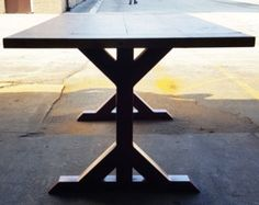 Modern Dining Table X Legs Model 006 with 2 Braces by DVAMetal
