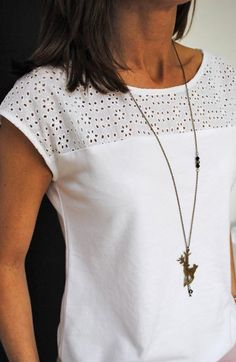 Stitch fix stylist: I like the subtle detail at the top of this shirt. I like that it's casual yet could be dressed up.