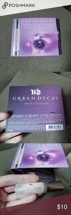 { Urban Decay } Optical Illusion Complexion Primer Brand NEW product by Urban Decay!!!   This is a LARGE sample size.  5 ml/0.16 fl. oz. Supposedly smoothing and pore perfecting!!  Apply BEFORE applying your concealer and foundation for a flawless finish. Made with rosehip and argan oil.  Great complexion primer!!! Thanks :) Urban Decay Makeup