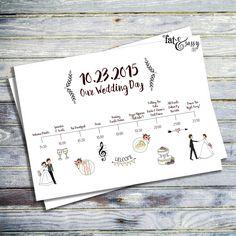 Wedding Timeline Custom Wedding Program van fatandsassyink op Etsy
