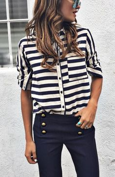 #fall #outfits · Striped Shirt + Black Jeans