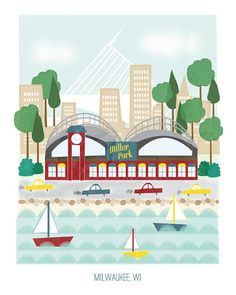 Milwaukee Wisconsin  11x14 print  city por confettielove en Etsy