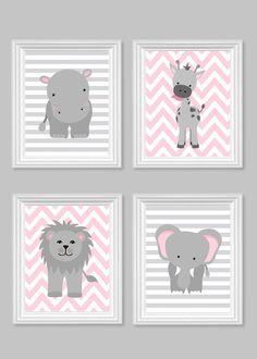 Girl's Room Decor, Gray and Pink, Girl Zoo Nursery, Safari Nursery, Jungle Nursery Decor, Hippo, Giraffe, Elephant, Lion, Quad, Canvas Art by SweetPeaNurseryArt on Etsy