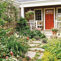 Lose Your Lawn  Enhance a rustic or Arts and Crafts home with a rugged walkway of pavers broken up by pockets of low-growing groundcover, such as this sweet alyssum. Lush plantings on both sides of the path help prevent this small-space front yard from feeling too tiny.