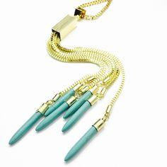1 Pc. Turquoise Fringe Statement Necklace TURQUOISE FRINGE TURQUOISE ELEGANT  BOHEMIAN STATEMENT NECKLACE Deux Box  Jewelry Necklaces