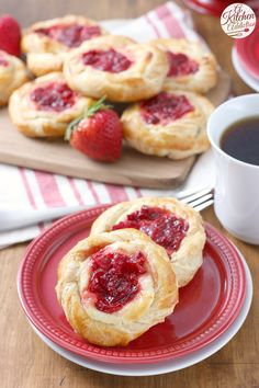 Strawberries and Cream Cheese Danishes Recipe from A Kitchen Addiction