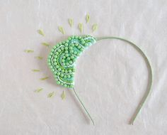 Original price - $60 USD  Jelly Cloud headband in cloud shape with pastel green bead.  It is handmade with my LOVE and CARE. All sewn together by