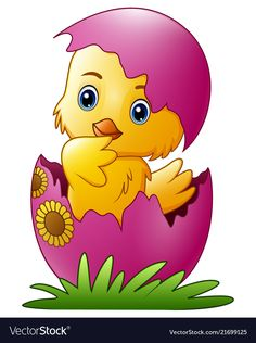 Cute little cartoon chick hatched from an egg isolated on a white background vector illustration Cute Cartoon Drawings, Art Drawings For Kids, Drawing For Kids, Art For Kids, Baby Painting, Fabric Painting, Ostern Wallpaper, Easter Paintings, Vintage Easter