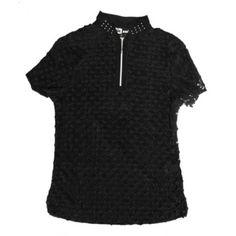 Jamie Sadock Basic Women's Short Sleeve Crinkle Dot Polo Golf Shirt-Jet Black #jamiesadockclothing #blackandwhite #golfpants #newarrivals #spring2015 #jamiesadockwomensgolfclothing #ladiesgolfclothing #golfjackets #lightweight #golfpants #golfskorts #golfpolos #crinkleshirts #lightweightgolfshirts