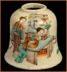 Delicately painted Chinese brush pot or inkpot, enamel hand painted porcelain ca1800 -1849