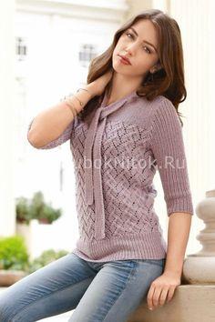 Кофточка с ажуром | Вязание для женщин | Вязание спицами и крючком. Схемы вязания.