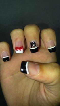 Baseball nails with number Baseball Nails, Baseball Stuff, Really Cute Nails, Number