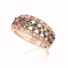 Vanilla Wishes And Chocolate Dreams Diamond Wedding Rings Rose Gold Ring Set