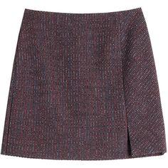 Carven Tweed Mini Skirt (365 AUD) ❤ liked on Polyvore featuring skirts, mini skirts, multicolor, colorful skirts, navy blue mini skirt, slit skirt, wet look skirt and carven skirt
