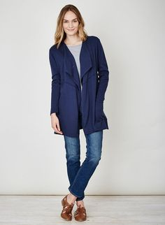 Sweeping and sophisticated, this long organic cotton cardigan falls softly through the front and is a wonderful layering piece. Featuring full-length sleeves, mid weight yarn and designed thoughtfully with a pin for optional closure. Cotton Cardigan, Sustainable Fashion, Pink Purple, Indigo, Organic Cotton, Knitwear, Wool, Sleeves, Clothes