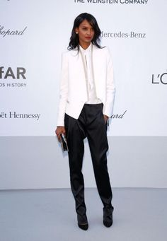 Liya Kebede looking daper in this monochrome tux ensemble at the 2012 amfAR's Cinema Against AIDS in Cannes