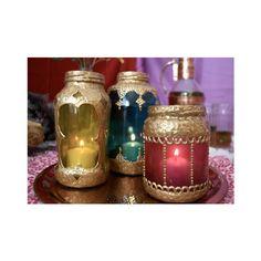 DIY Moroccan Mason Jar Lantern Beautiful Upcycled Jars found on Polyvore