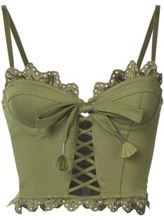 Fenty X Puma ruffled lace-up bustier ohh la la Mode Outfits, Fashion Outfits, Womens Fashion, Steampunk Fashion, Gothic Fashion, Top Bustier, Bustier Top Outfits, Bow Crop Tops, Cropped Tops