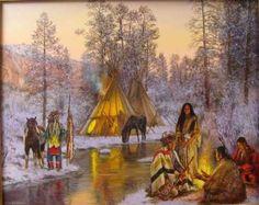 native american paintings Hubert Wackermann | Atsina Winter Camp༺ ♠ ༻*ŦƶȠ*༺ ♠ ༻