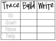 Trace, Build, Write  freebie!