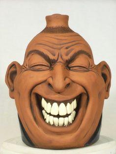 Melvin Crocker face jug - Southern Folk Pottery