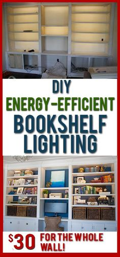 Love these DIY lights for bookshelves or under cabinets. Such soft, even light and it's SO cheap to buy and install!.