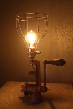 Vintage food grinder lamp on Etsy.