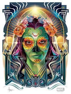 GUARDIANS - Dia De Los Muertos OFFICIAL MARVEL Vector on Digital Art Served