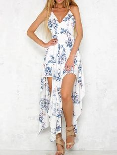 White Floral Print Cross Back Asymmetric Hem Dress