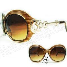 38a77196fa HOTLOVE Premium Sunglasses UV400 Lens Technology - Unisex 2905 Fashion  Design Brown Stripe Frame Glassy Finish