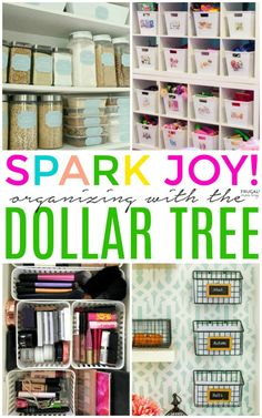 KonMari Method Dollar Tree Organizing Ideas - Spark Joy with these tidying up tips that fit any budget! KonMari Method Dollar Tree Organizing Ideas - Spark Joy with these tidying up tips that fit any budget! Dollar Store Hacks, Astuces Dollar Store, Dollar Stores, Dollar Store Bins, Organisation Hacks, Organizing Hacks, Diy Hacks, Organizing Kids Toys, Small Pantry Organization