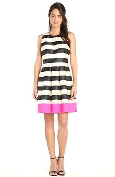 Eliza J Stripe Crepe Fit & Flare Dress #black #white #stripes #fit #flare #dress #pink #fashion