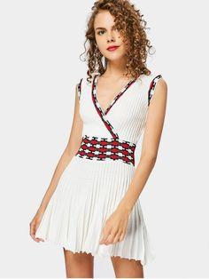 Vestido de tricô canelado decote transpassado - Quase Branco Tamanho único
