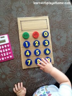 Learn with Play at home: Bottle Top Calculator. See the extra fun way we change the calculator to practice Number Writing. Playful Maths