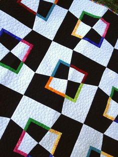Mad as a Hatter, close up by messygoat, via Flickr  I like the pebble quilting  contrating with all the angles of the blocks
