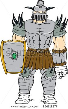 Illustration of knight in full armor holding a shield looking to front done in cartoon style on isolated white background. - stock vector #knight #cartoon #illustration