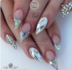 """""""Space Nails Sculptured Acrylic with Cover Pink, Crystal Glitter, Sea Spray Glitter, Moody Confetti, Silver Glitter…"""" Cute Acrylic Nail Designs, New Nail Art Design, Nail Art Design Gallery, Cute Acrylic Nails, Gel Nail Art, Nail Art Designs, Acrylic Gel, Sculptured Acrylic Nails, Crazy Nails"""