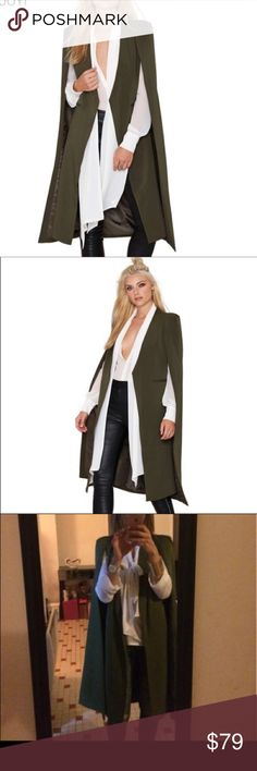 ❄️New Midi Poncho Open Slit Trench Coat❄️ Wear like the model, very in right now with the knee length boots. Can be a day look that transitions to night. Jackets & Coats