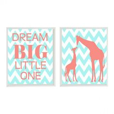 Dream Big Little One Quote and Giraffe Wall Print
