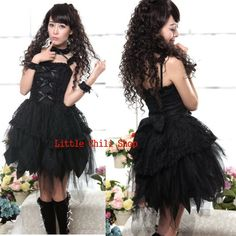 61297Blk Sweet LOLITA Kawaii GOTHIC PUNK Short Sleeve DRESS + Necklace+wristband in Clothes, Shoes & Accessories, Women's Clothing, Dresses | eBay