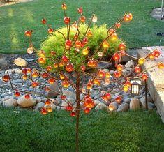 Items similar to Ball Tree/ Bottle Tree/ Metal garden art/ drought tolerant on Etsy Glass Garden Art, Metal Garden Art, Bottle Garden, Garden Crafts, Garden Projects, Metal Tree Wall Art, Unique Gardens, Diy Décoration, Outdoor Art