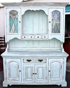Outdated Colonial China Cabinet turned Shabby Chic.