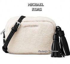b0eb7e5229bf MICHAEL KORS Jet Set Handbag Crossbody Shearling Black Leather Trim Purse  NWT