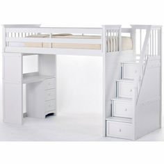 Loft bed with stairs. Stairs are drawers. Smart for a small bedroom.