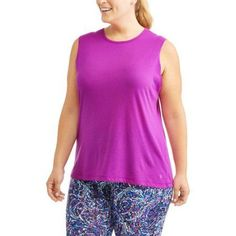 Plus Size Danskin Now Women's Plus Solid and Graphic Muscle Tank, Size: 1XL, Purple