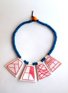 Embroidered necklace geometric hot pink by AnAstridEndeavor, $70.00